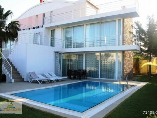 4+1 triblex furnished villa with detached garden and pool in Belek, Antalya