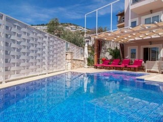 4+1 Villa with Super sheltered pool in central Kalkan, Turkish Riviera