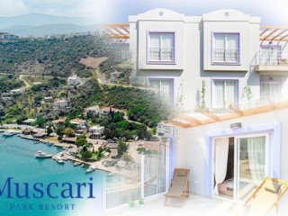 Mugla Bodrum famous Muscari Park Resort 108 terrace apartments and garden