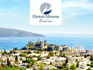 Panoramic view from Bodrum Castle to Kos Island in Elysium Miramar